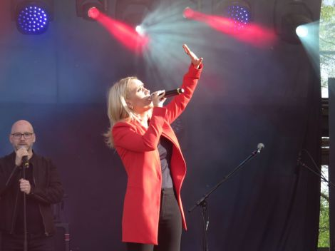 Iceland's Greta Salome performs Hear Me Calling at the Eurovision Village the day after failing to qualify for the Eurovision final.