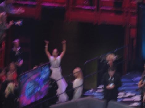 Slovenia's ManuElla exits the Eurovision arena for the final time. Sob. :(