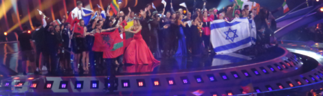 The finalists on stage from semi final 1 of the Eurovision Song Contest in Lisbon, 2018