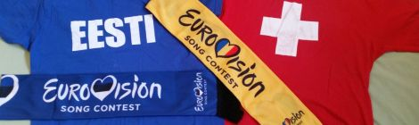 Eurovision 2018 Lisbon Switzerland, Estonia, Romania scarf and t-shirt