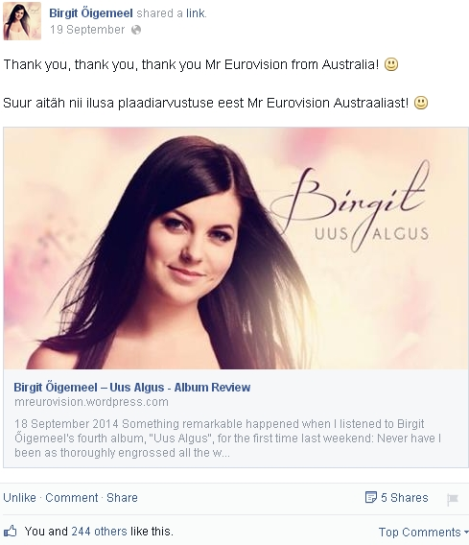 Birgit Uus Algus Album Review - Thank you Mr Eurovision Australia
