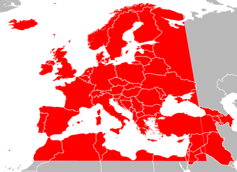 European Broadcasting Area boundaries
