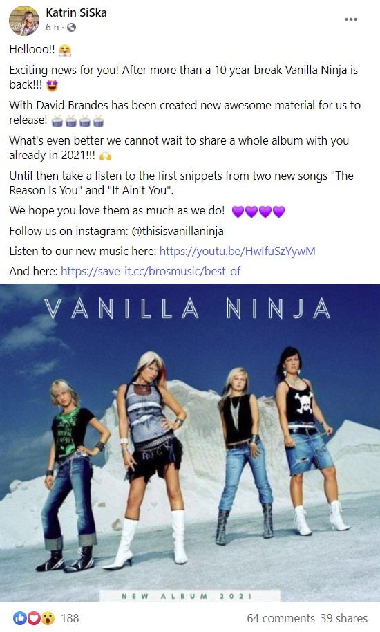Vanilla Ninja 2021 - Katrin Siska Facebook post