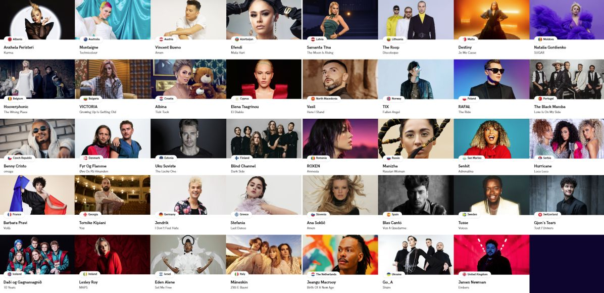 All participants of Eurovision Song Contest 2021 Rotterdam