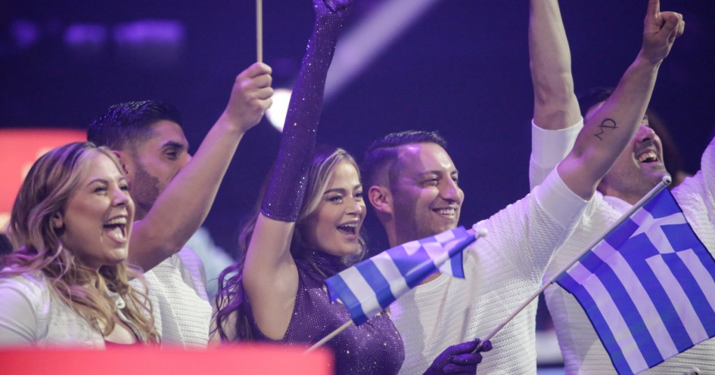 Stefania from Greece celebrates qualifying for the grand final from the second semi final - Rotterdam 2021 Eurovision Song Contest review